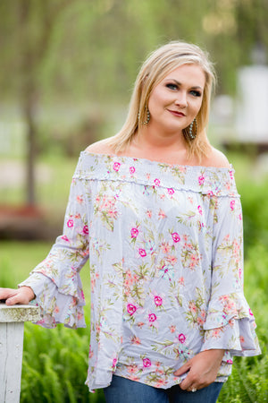 Keep Glowing Off Shoulder Floral Top - West Avenue