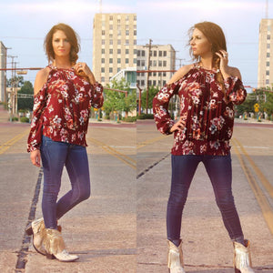 Burgundy Floral Top - West Avenue