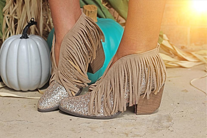 Santa Fe Fringe Booties - Glitter Taupe - West Avenue