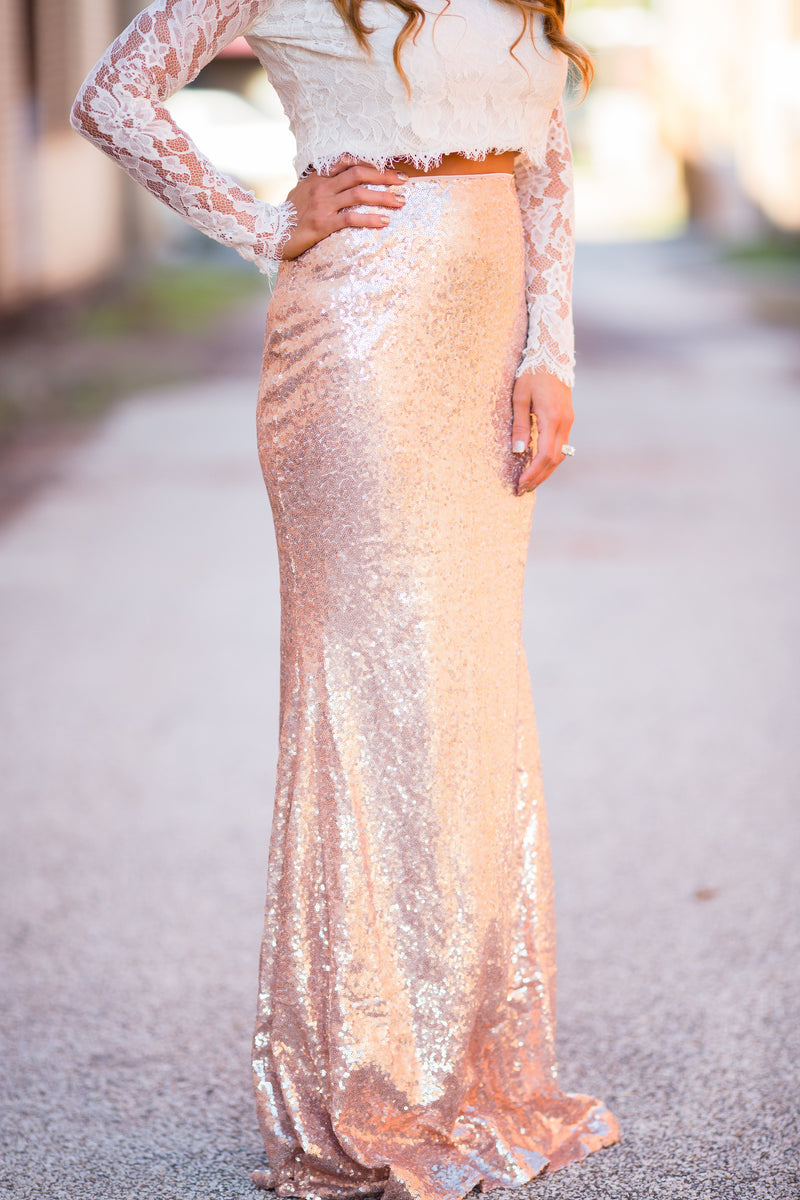 I'd Be Jealous Too Maxi Skirt - Rose Gold - West Avenue