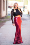 I'd Be Jealous Too Maxi Skirt - Burgundy - West Avenue