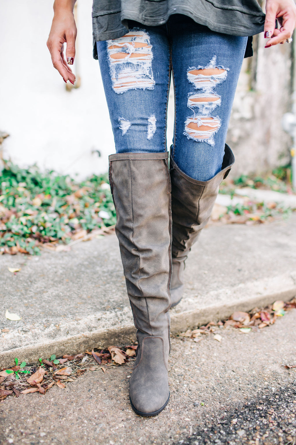 The Lisa Over The Knee Boot - Taupe