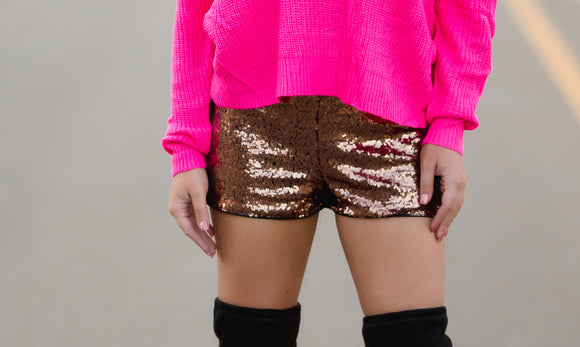 Sassy & Sequins Bronze Shorts - West Avenue
