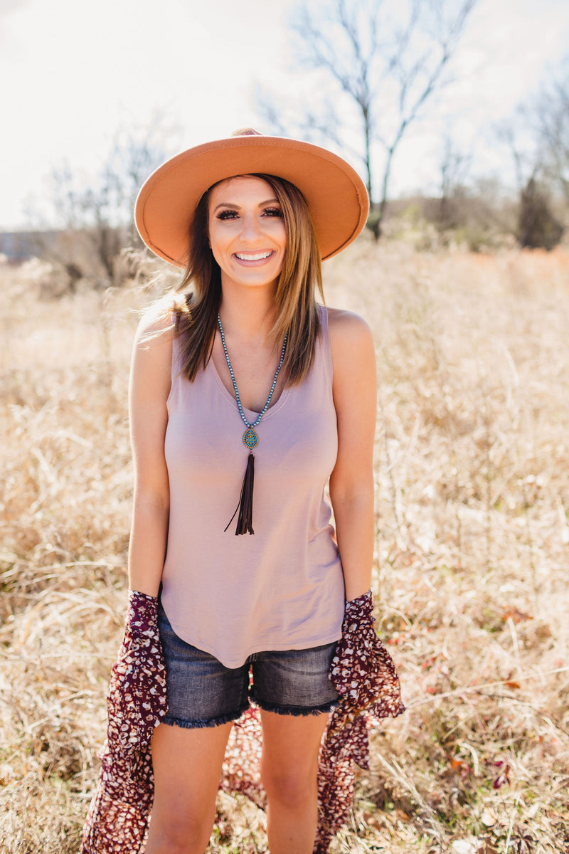 Basic V Neck Tank - Blush