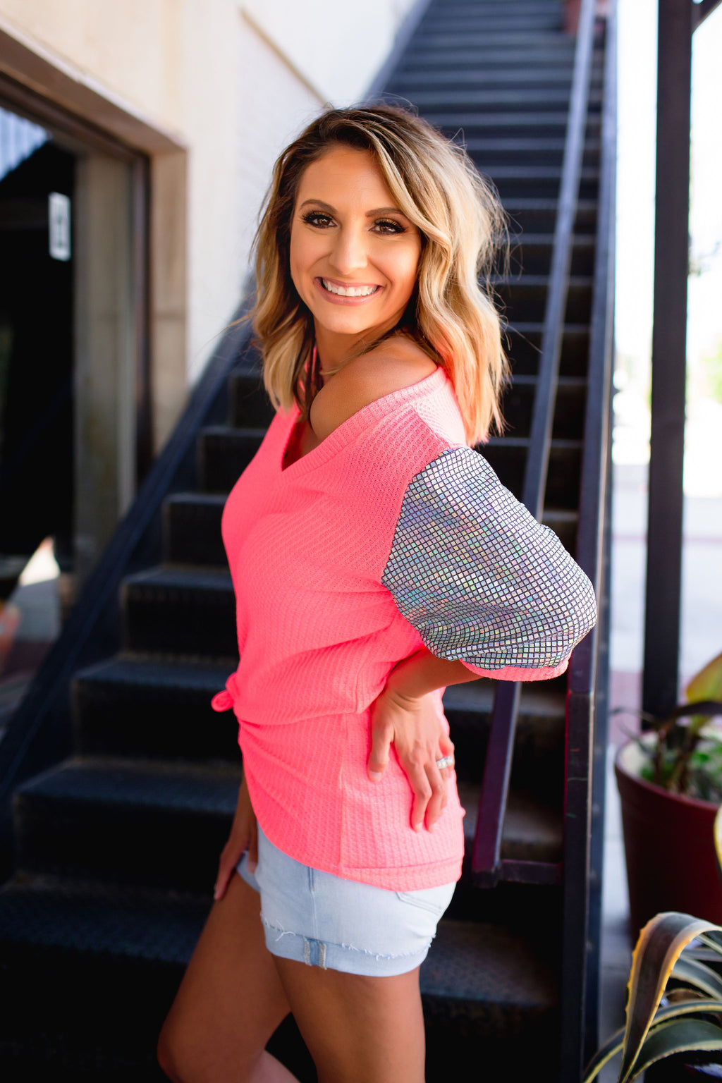 She's Gonna Run Sequin Sleeve Top - Neon Pink - West Avenue
