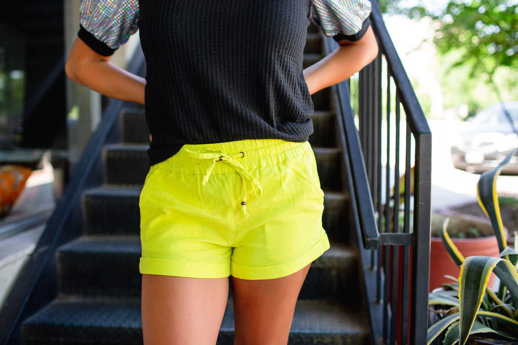 Yellow Linen Shorts - West Avenue