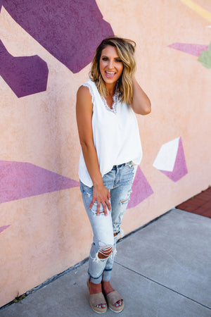 Lace Trimmed White Tank - West Avenue
