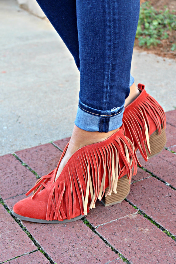 Santa Fe Fringe Booties - Orange - West Avenue