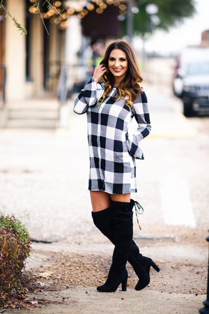 Here Tonight Plaid Dress - West Avenue