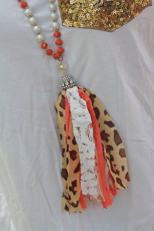 Coral Leopard Tassel Necklace - West Avenue