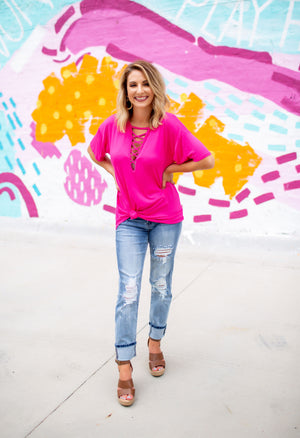 The Jersey Knit Top - Fuchsia - West Avenue