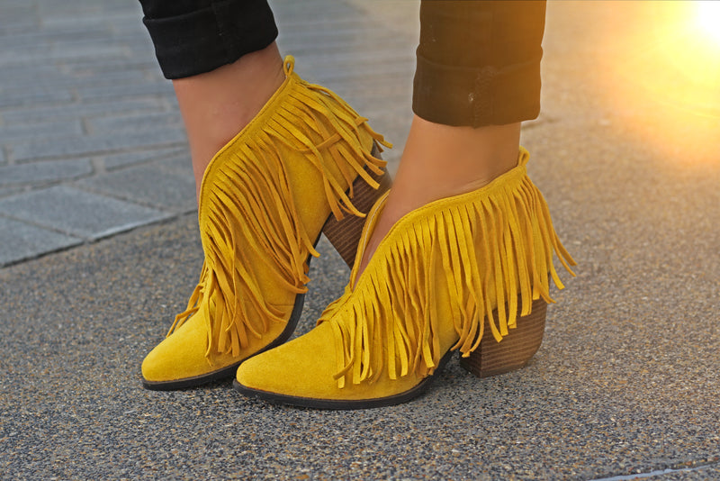 Santa Fe Fringe Booties - Mustard - West Avenue