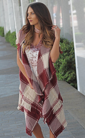 Wrap Me Up Plaid Vest - West Avenue