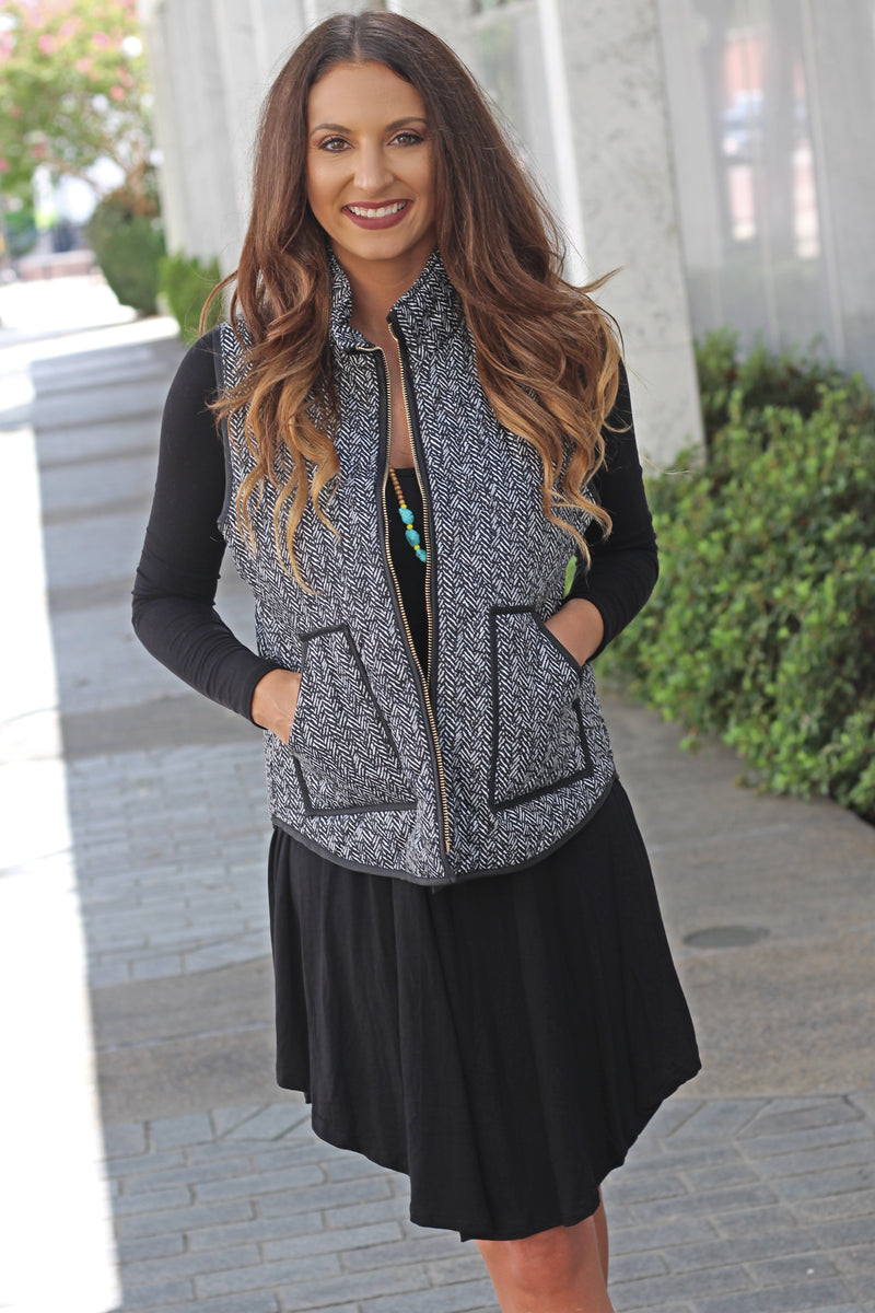 Herringbone Print Vest - West Avenue