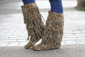 The Melissa Fringe Boots - Leopard - West Avenue