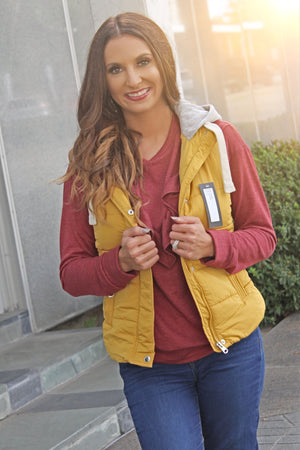 The Campfire Cozy Vest - Mustard - West Avenue