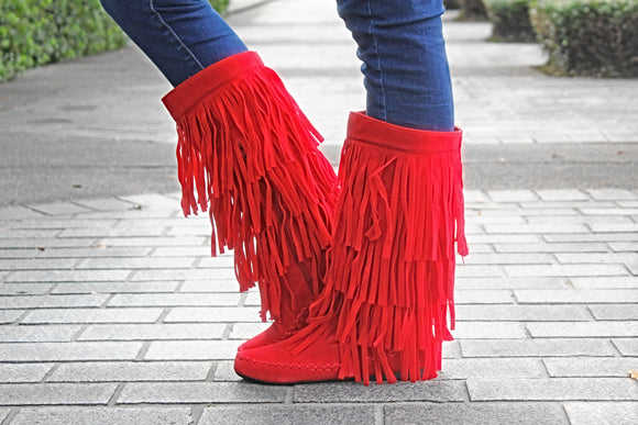 The Melissa Fringe Boots - Red - West Avenue