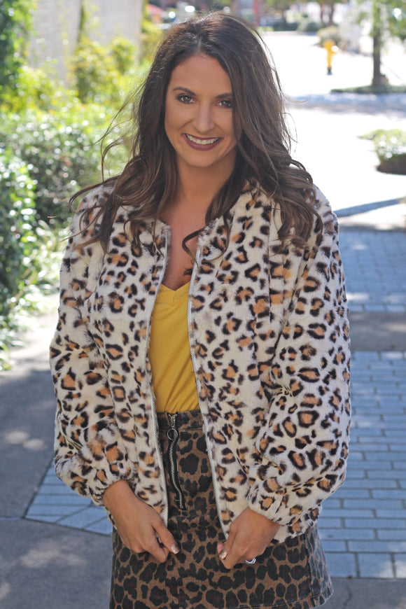 Faux Fur Leopard Jacket - West Avenue
