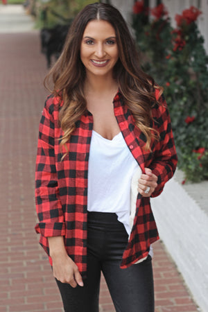 Plaid With The Fur Top - West Avenue