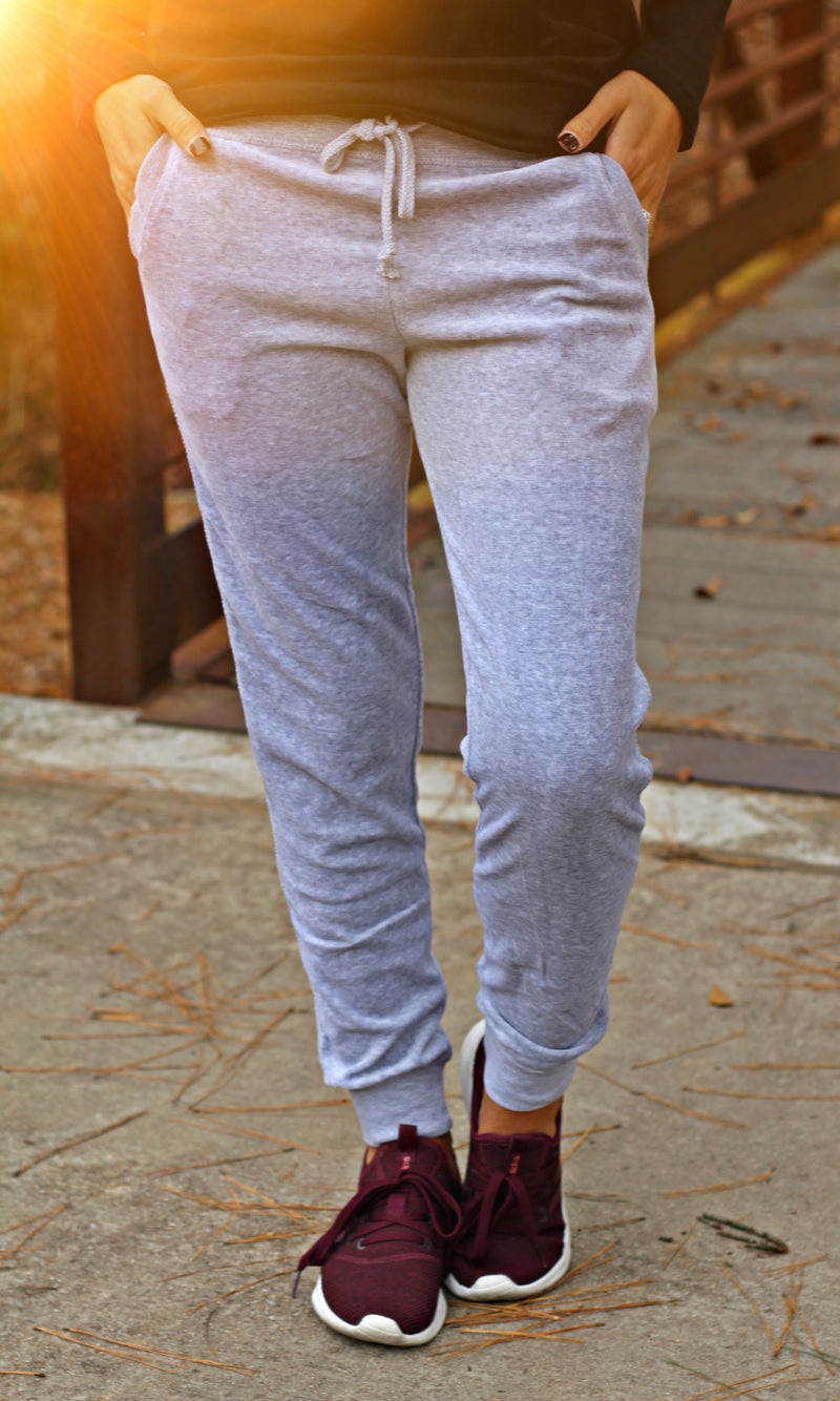 The Cool Mom Velour Joggers - Gray - West Avenue