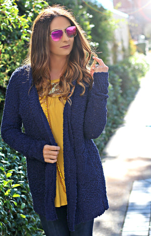 Next Level Popcorn Cardigan - Navy - West Avenue