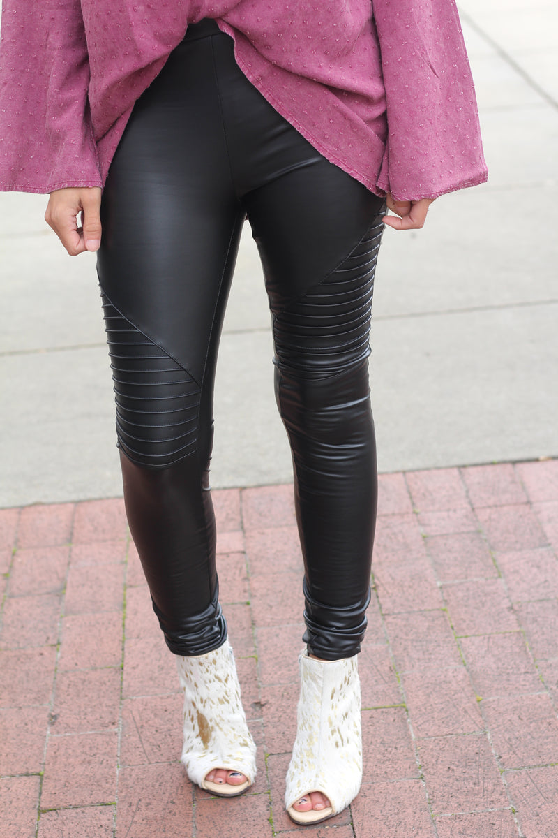 Faux Moto Leather Leggings - West Avenue