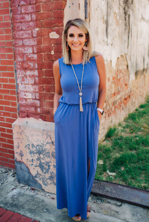 Come As You Are Maxi Dress - Slate Blue - West Avenue