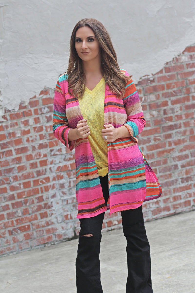 Multi Stripe Cardigan - West Avenue
