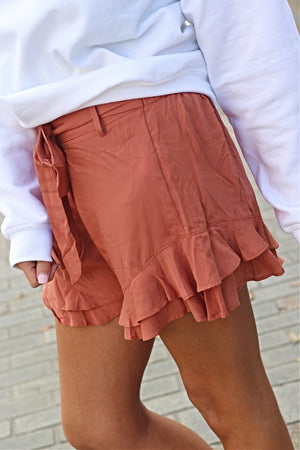 Ruffle You Up Clay Shorts - West Avenue