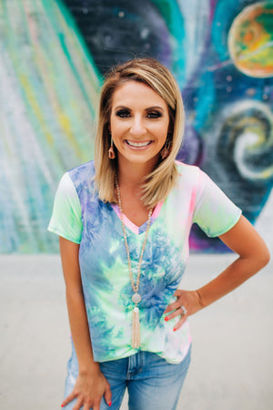 Shoot For The Stars Tie Dye Top - West Avenue