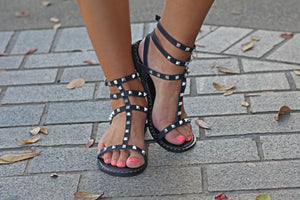 Black Studded Gladiator Sandal - West Avenue