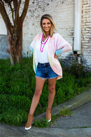Cotton Candy Dreams Popcorn Cardigan - West Avenue