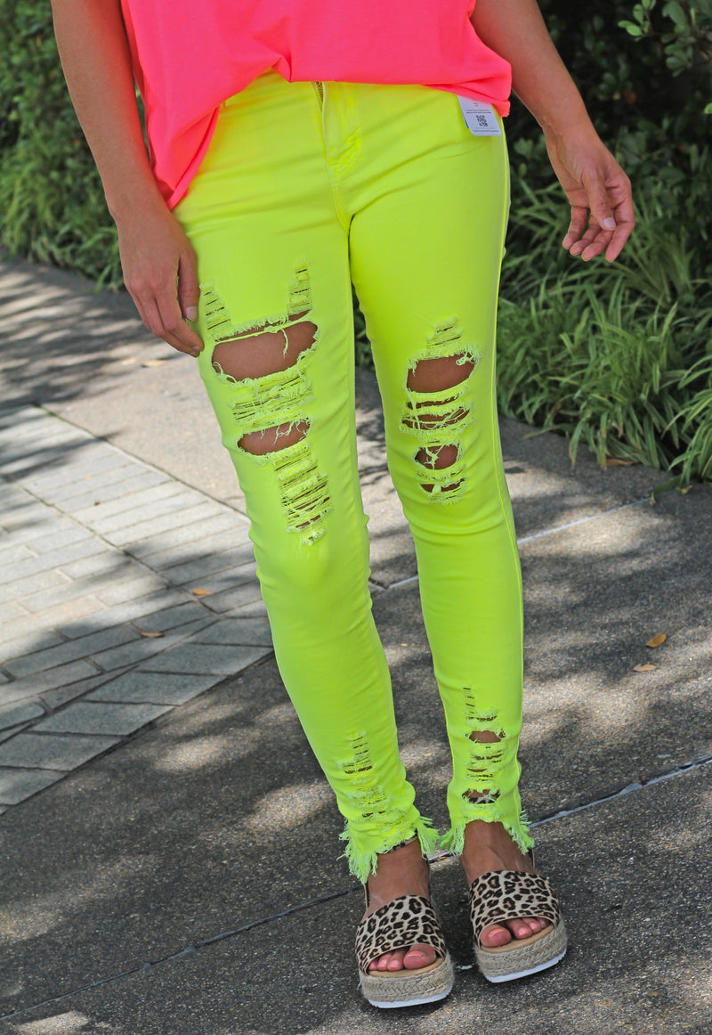 Neon Yellow Skinnies - West Avenue