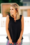 Lace Trimmed Black Tank - West Avenue