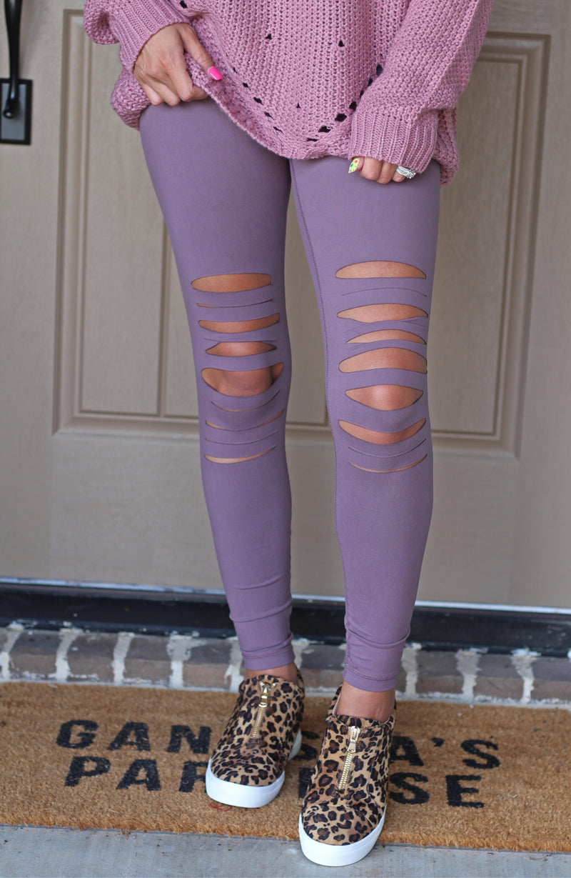 Dark Mauve Cut Leggings - West Avenue