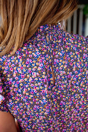 Mock Neck Floral Print Top