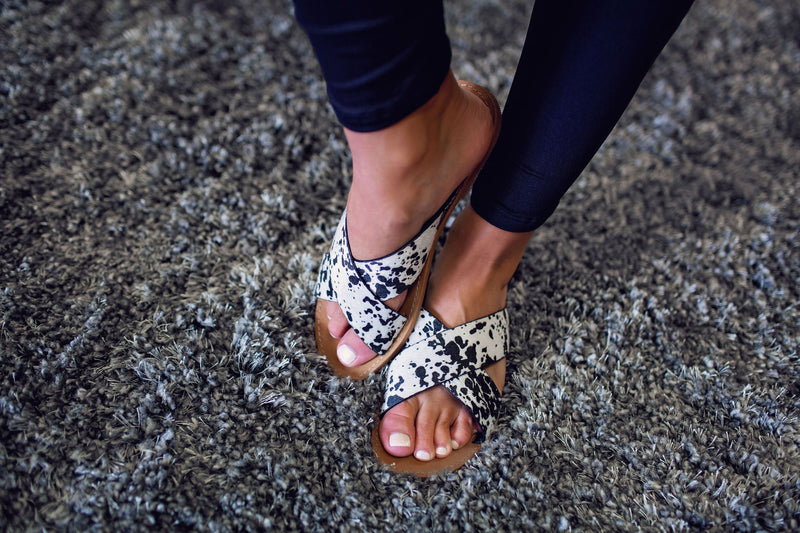 The Candice Cowprint Sandals