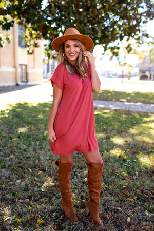 Love Like Crazy Ribbed Dress - Rust - West Avenue