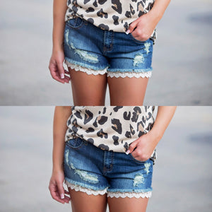 Denim Lace Shorts - West Avenue