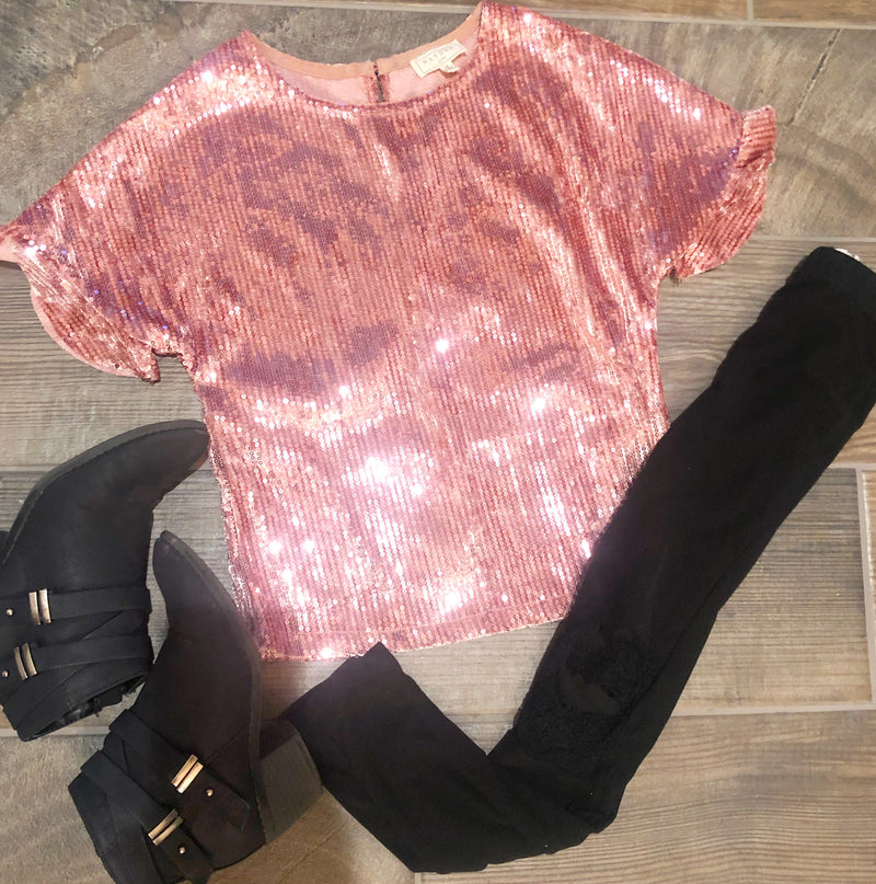 Mini West Pink Sequin Top - West Avenue