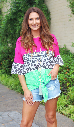 Shades Of Summer Color Block Top - Hot Pink - West Avenue