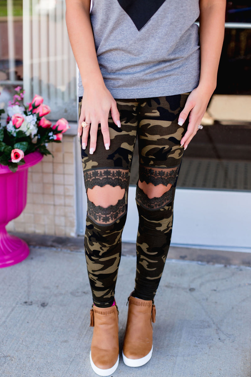Camo Lace Cutout Leggings - West Avenue