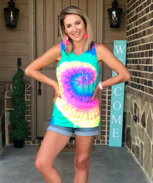 Neon Rainbow Tie Dye Tank - West Avenue