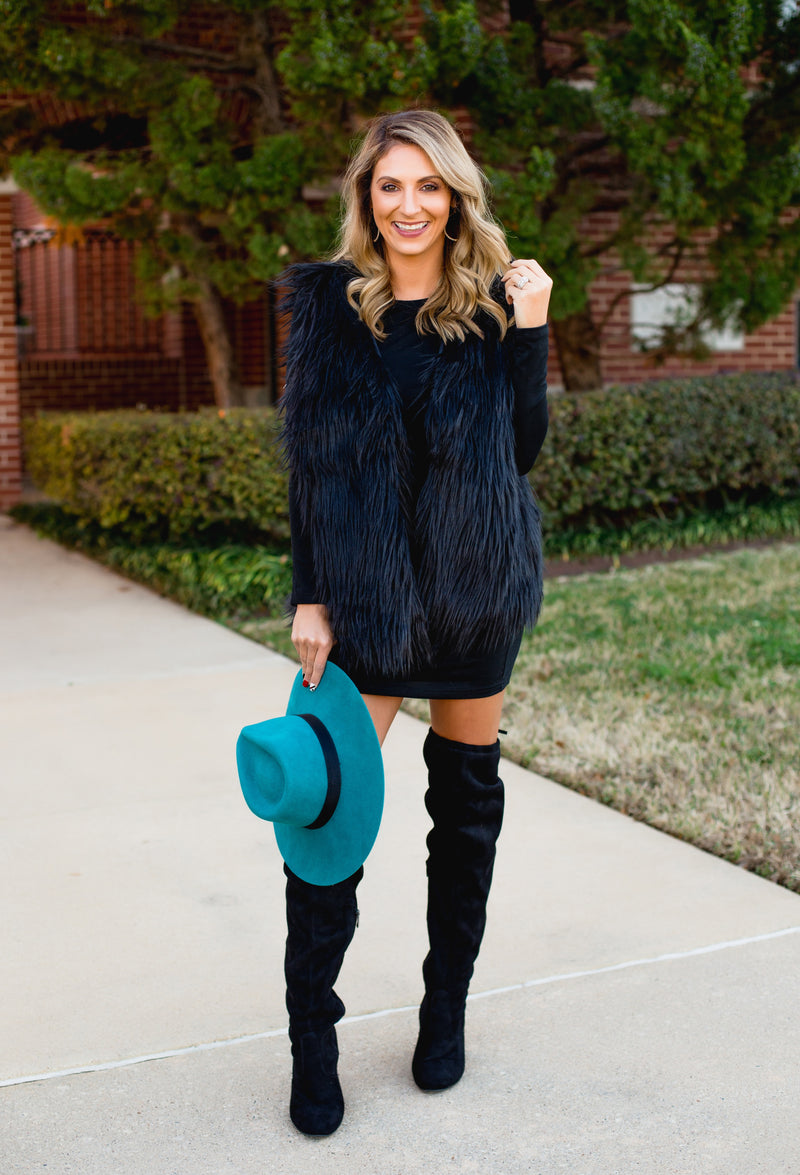 The Valentines Fur Vest - Black - West Avenue