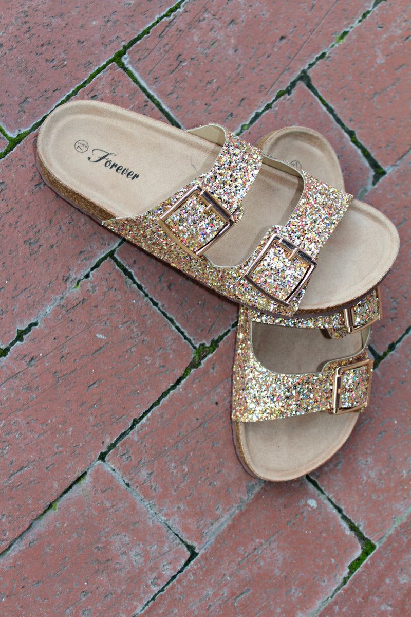 Gold Glitter Sandals - West Avenue