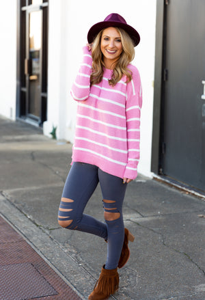 Pretty In Pink Waffle Knit Top - West Avenue