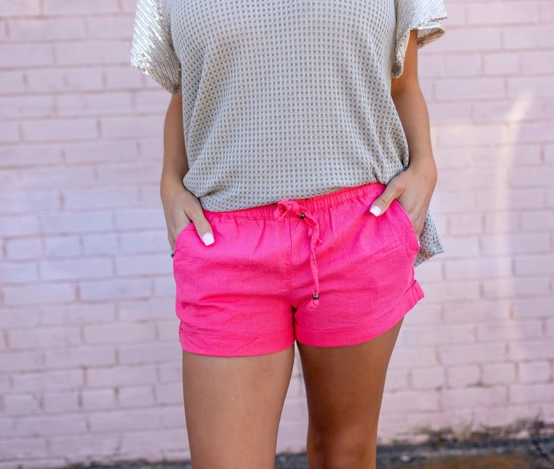 Strawberry Pink Linen Shorts - West Avenue