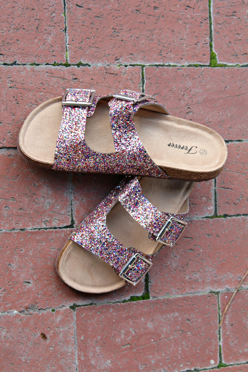 Multi Color Glitter Sandals - West Avenue
