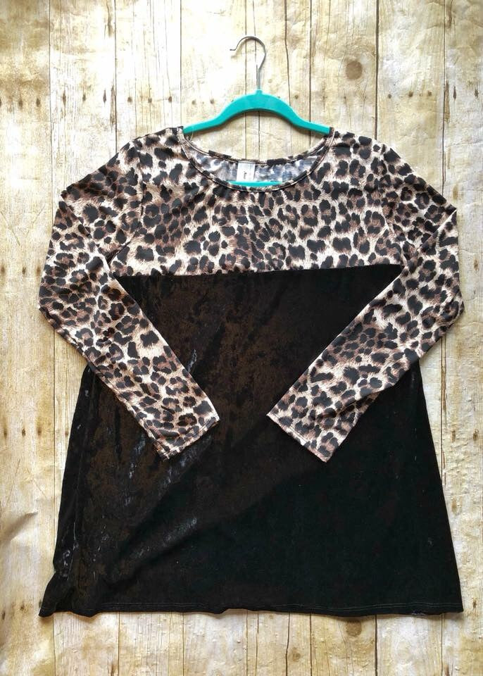 Plus Size Leopard & Velvet Top - West Avenue