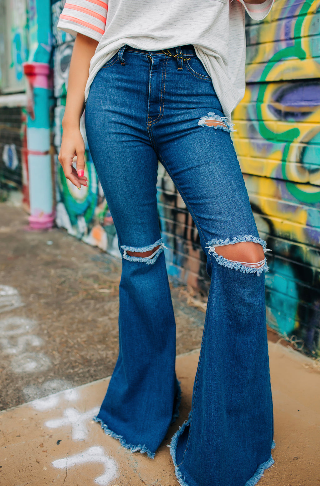 The Loretta Medium Wash Bell Bottoms - West Avenue